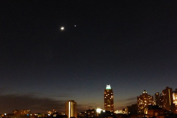 Venus and moon March 22, 2015 from Linda Sturgess in Philadelphia, Pennsylvania.