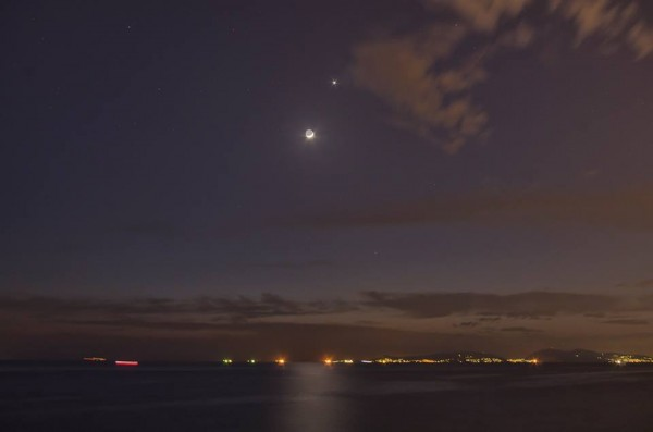 Nikolaos Pantazis caught the moon and Venus over the Saronic Gulf in Greece.