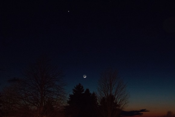 Here are the very young moon next to Mars, with bright Venus above, on Saturday night - March 21, 2015.  Photo submitted by Charles Murphy in Oswego, NY.  Thanks, Charles!