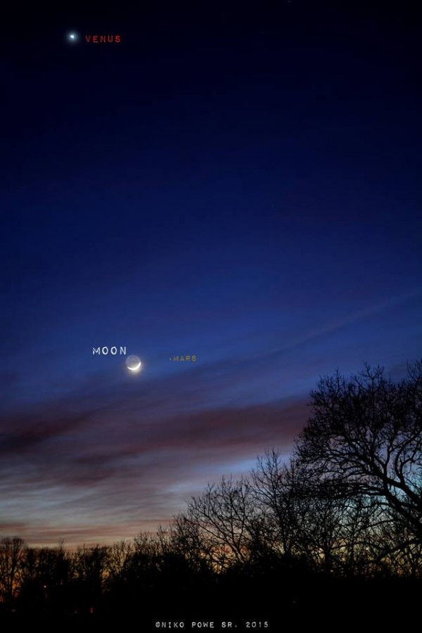 Niko Powe in Kewanne, Illinois was kind enough to label the view of last night's moon, Mars and Venus extravaganza.   Thanks, Niko!  Catch them Sunday night, too!