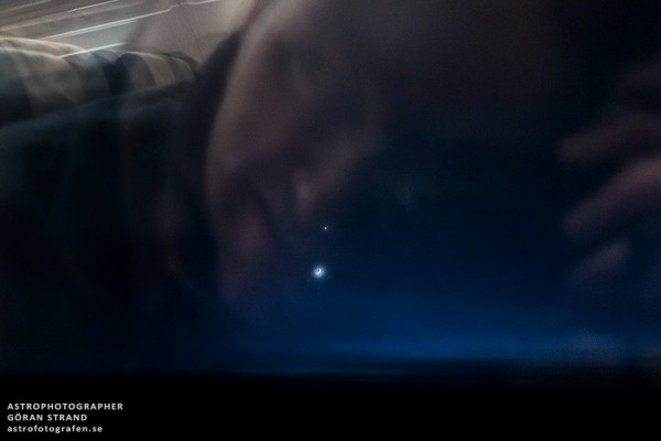 Last night when I flew back home from the Faroe Islands I had the most beautiful outside my airplane window. A crescent moon and planet Venus conjunction that was with me for a great deal of the trip. So here's my first ever Moon/Venus selfie I've taken, I took it through the airplane window at 10,000 m above the ground.