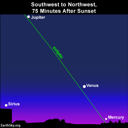 An imaginary line from the planet Jupiter and through the planet Venus helps you to locate the planet Mercury near the horizon. The green line depicts the ecliptic