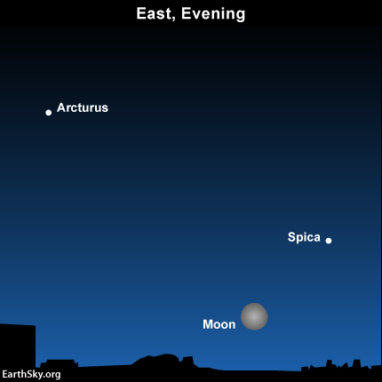 tonight s moon and two colorful stars tonight earthsky