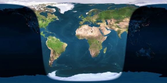 Day and night sides of Earth at greatest eclipse (12:00 UT). The shadow line at left, running through North America, depicts sunrise (moonset). The shadow line at right, running through Asia, depicts sunset (moonrise). Image credit: Earth View