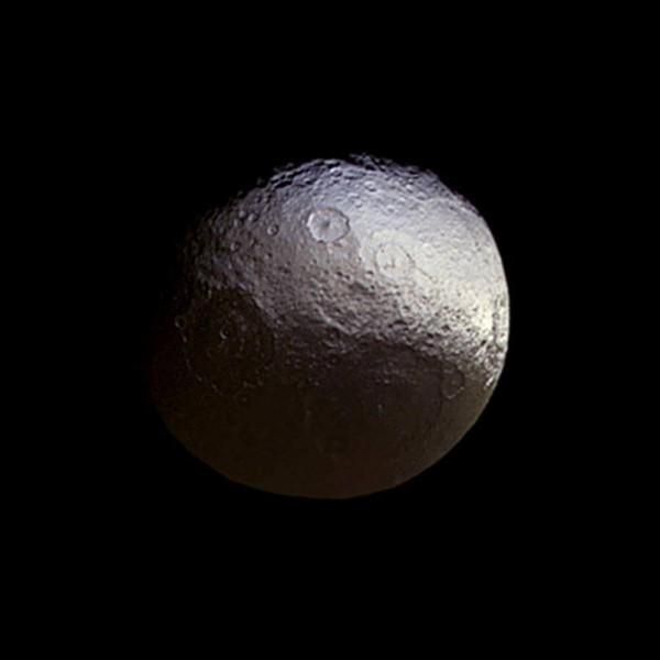 Saturn's moon Iapetus, imaged by the Cassini spacecraft on March 27, 2015.  Image via NASA / JPL / ESA Cassini spacecraft.