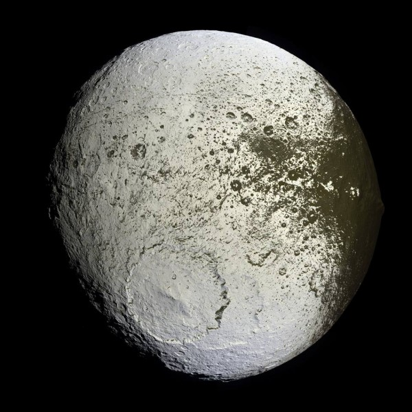 A nearly full-on view of Iapetus' bright trailing hemisphere.  Image acquired by Cassini September 10, 2007.