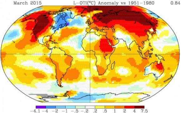 Global temperatures in March vs. 1951-1980 average. Via NASA.