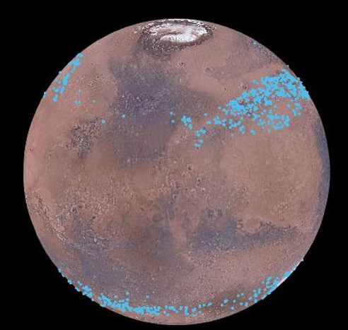 Mars distinct polar ice caps, but Mars also has belts of glaciers at its central latitudes – between the blue lines, in both the southern and northern hemispheres. A thick layer of dust covers the glaciers, so they appear as the surface of the ground, but radar measurements show that there are glaciers composed of frozen water underneath the dust. Image credit: Mars Digital Image Model, NASA/Nanna Karlsson