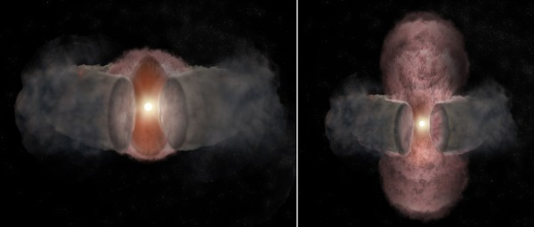 View larger. |  Artist's conception of the development of W75N(B)-VLA-2.. At left, a hot wind from the young star expands nearly spherically, as seen in 1996. At right, as seen in 2014, the hot wind has been shaped by encountering a dusty, donut-shaped torus around the star and appears elongated.  Image via Bill Saxton, NRAO/AUI/NSF.
