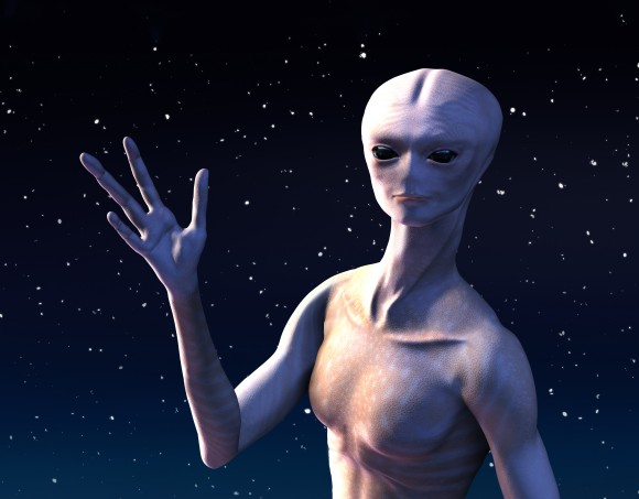 A humanoid extraterrestrial being with 4 fingers, waving.