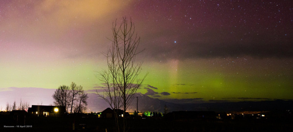 Northern lights over Montana on the night of April 9-10, 2015, from our EarthSky friend Keith Hanssen.