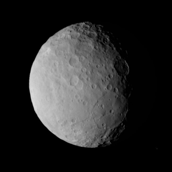 The bright spots aren't the only Ceres mystery of interest to scientists.  Dawn had this view of Ceres on Feb. 19 at a distance of 28,000 miles (46,000 kilometers). Among the puzzling features is the large structure below and to the right of center. Pictures in RC3 will be more than three times sharper. Credit: NASA/JPL-Caltech/UCLA/MPS/DLR/IDA