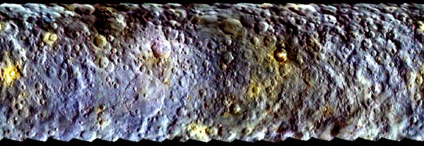 View larger. |  This map-projected view of Ceres was created from images taken by NASA's Dawn spacecraft during its initial approach to the dwarf planet, prior to being captured into orbit in March 2015.  Read more about this image.