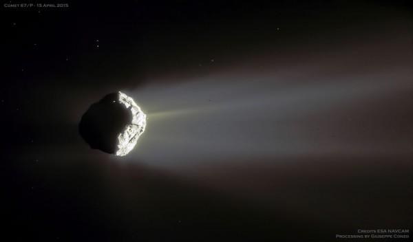 Crescent comet 67P Churyumov-Gerasimenko  Image via APOD/ ESA, Rosetta, NAVCAM/ processing by Giuseppe Conzo.