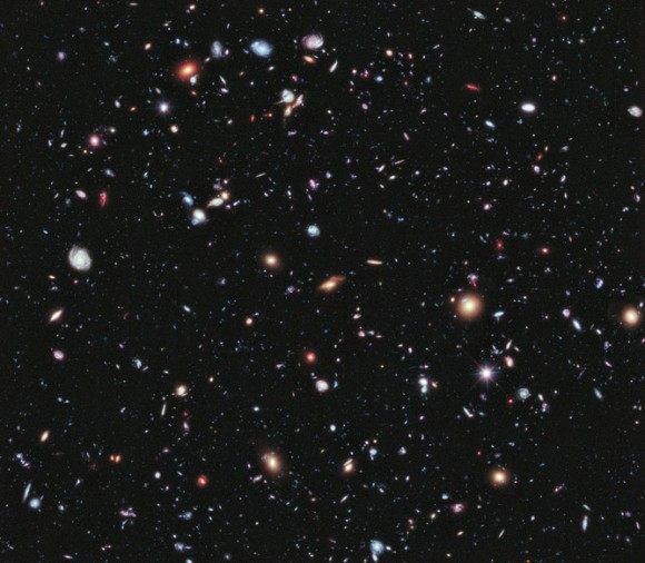 How do we think about something we can't see and don't experience in our everyday lives, but seems to be pushing our universe apart ever faster? Image credit: NASA, ESA, G. Illingworth, D. Magee, and P. Oesch (University of California, Santa Cruz), R. Bouwens (Leiden University), and the HUDF09 Team, CC BY