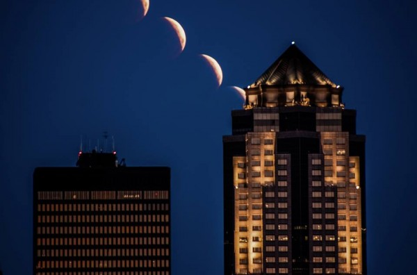 Brian Abeling caught the eclipsed moon setting behind the cityscape in Des Moines, Iowa.