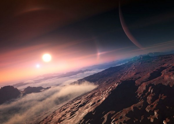 Artist's concept of exoplanet, seen from its moon, via IAU