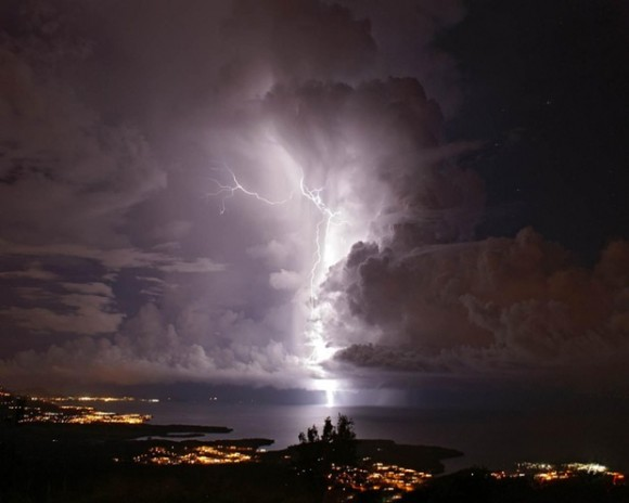 A flash of Catatumbo Lightning in Zulia, Venezuela. Photo credit: Alamy via The Guardian