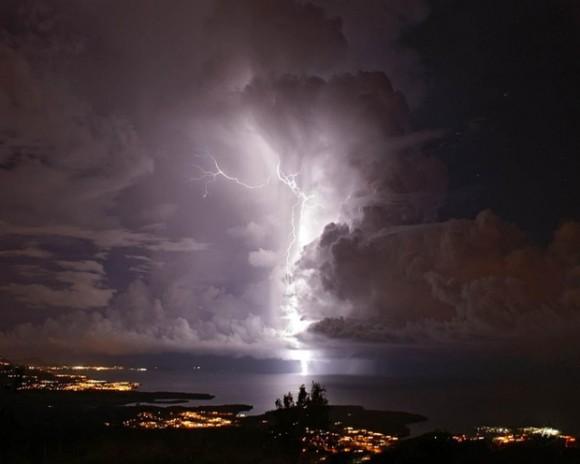 A flash of Catatumbo Lightning in Zulia, Venezuela. Photo credit: Alamy via The Guardian