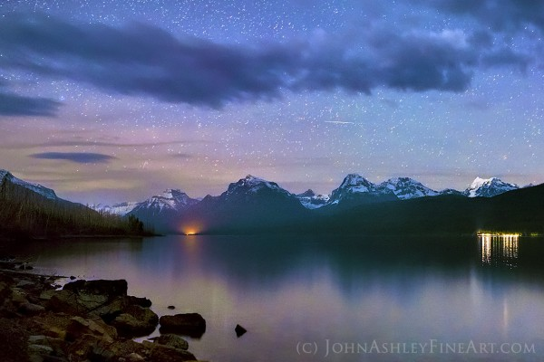 View larger. | Meteor over the Montana Rockies by John Ashley.  Photo taken April 21, 2015.
