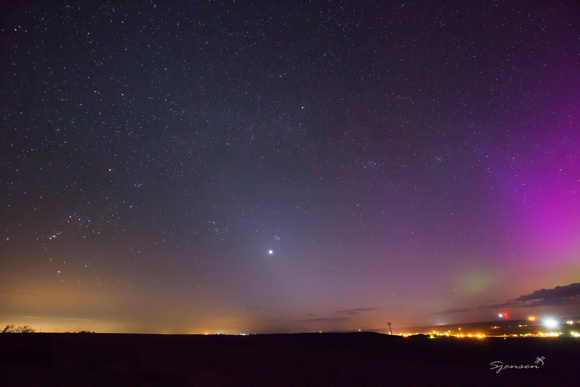 Note that Orion's Belt on left points to Venus, the Pleiades and the aurora borealis. Taken on April 9, 2015, from Odessa, Washington by Susan Giles Jensen.