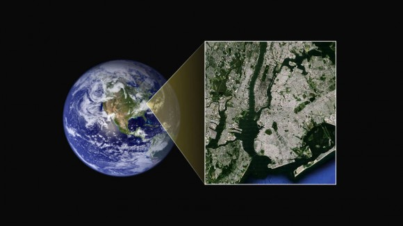 When New Horizons is closest to Pluto, it'll be able to see details on Pluto's surface similar to what we see in this image of Earth.  The inset shows New York City.  If you look closely, you can see Central Park - even some of the ponds in Central Park.  We'll see Pluto at this resolution in July, 2015.  Image via NASA