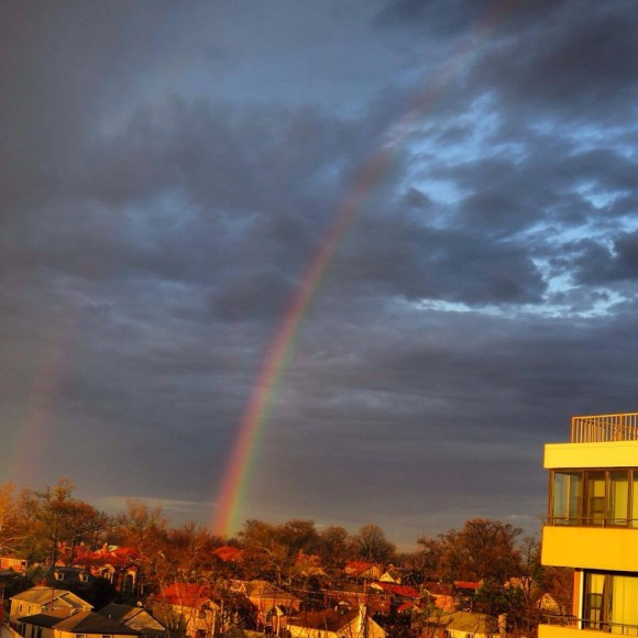 Glorious rainbow after a storm, at dawn, from Cindy Gurmann in Whitestone, New York.