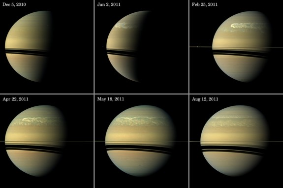 View larger. | The great Saturn storms of late 2010 and 2011