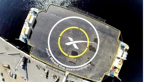 The barge landing pad, formally known as the Autonomous Spaceport Drone Ship, has been christened with the name Just Read the Instructions.