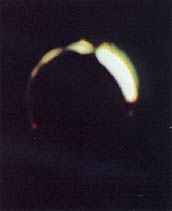 Eclipse of the sun by Earth, seen from the moon by Surveyor III in 1967.  Read more about this photo.