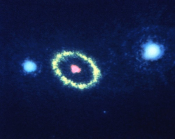Hubble Space Telescope image taken August 23, 1990 of a mysterious elliptical ring of material around the remnants of Supernova 1987A. Read more about this image