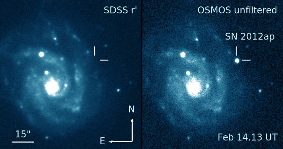 Images of SN 2012ap and its host galaxy, NGC 1729. Image credit: D. Milisavljevic et al.