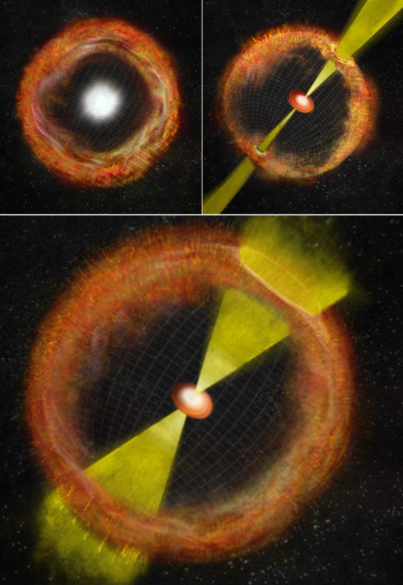In an ordinary core-collapse supernova with no 'central engine,' ejected material expands outward nearly spherically, left. At right, a strong central engine propels jets of material at nearly the speed of light and generates a gamma-ray burst. The lower panel shows an intermediate supernova like SN 2012ap, with a weak central engine, weak jets, and no gamma-ray burst. Image credit: Bill Saxton / NRAO / AUI / NSF.