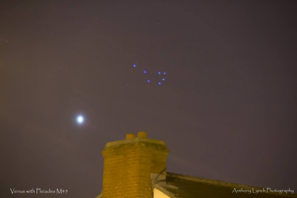 Venus and the Pleiades (M45) on April 11, 2015 from Anthony Lynch Photography in Dublin, Ireland.