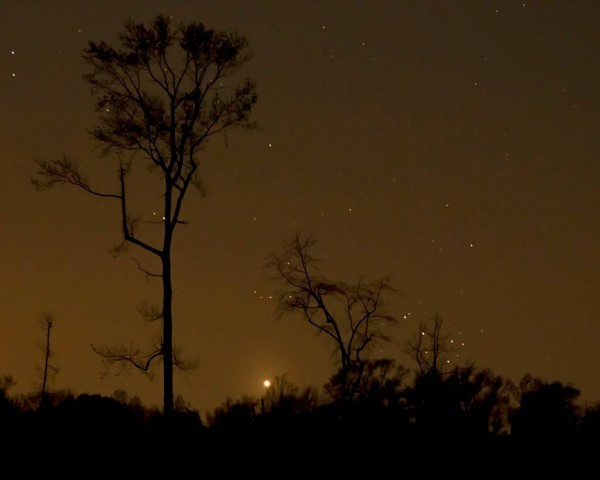 Venus and the Pleiades setting on April 11, 2015 from Ken Christison in northeastern North Carolina