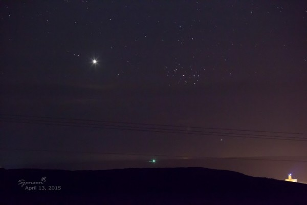 Susan Jensen caught Venus and the Pleiades on April 13 from western Washington.
