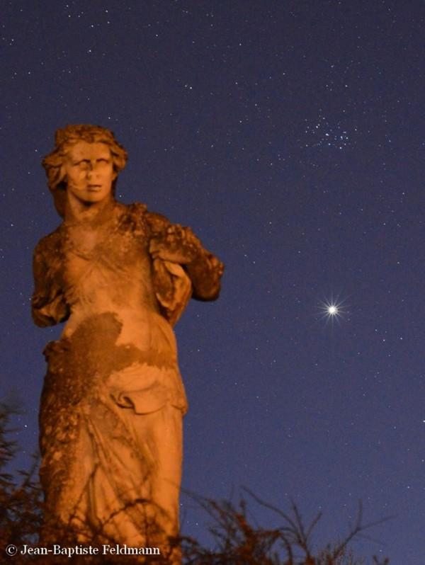 Venus and Pleiades on April 7, 2015 from EarthSky Facebook friend Jean-Baptiste Feldmann in France.