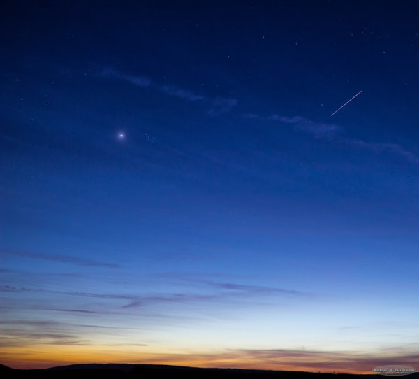 Guillaume Doyen caught Venus and the Pleiades, and a glimpse of the International Space Station, on April 13.