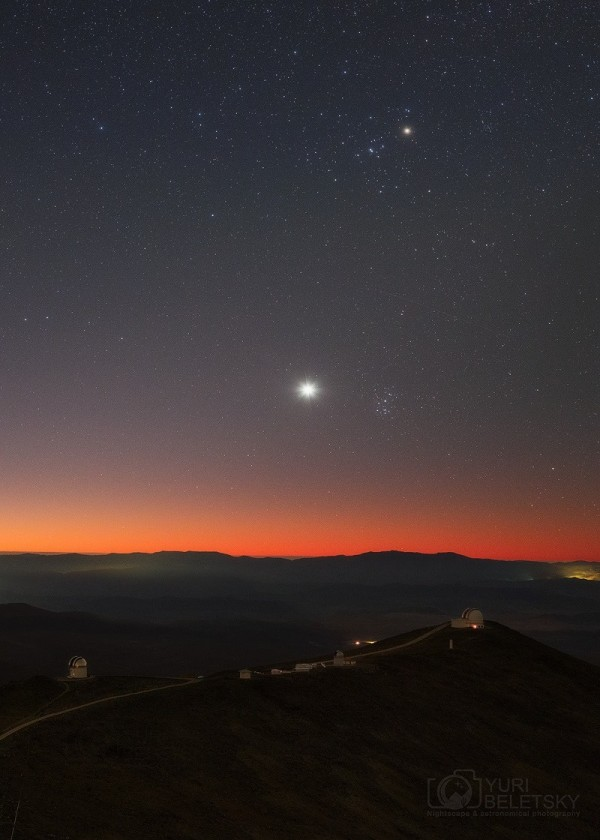 Venus and the tiny, dipper-shaped Pleiades star cluster as seen from the Atacama Desert in S. America on April 9, 2015, posted to EarthSky Facebook by Yuri Beletsky Nightscapes.  Thank you, Yuri!