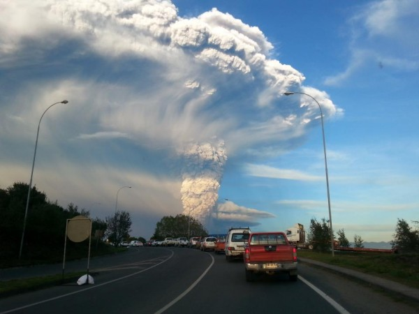 View of the eruption column of Calbuco Volcano from Puerto Varas, Chile, on April 22, 2015, via Aeveraal  at Wikimedia Commons