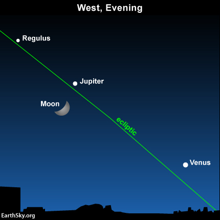Here's the view as it will be on Saturday night, May 23.  Read more:  Moon and Jupiter meet in Cancer the Crab.