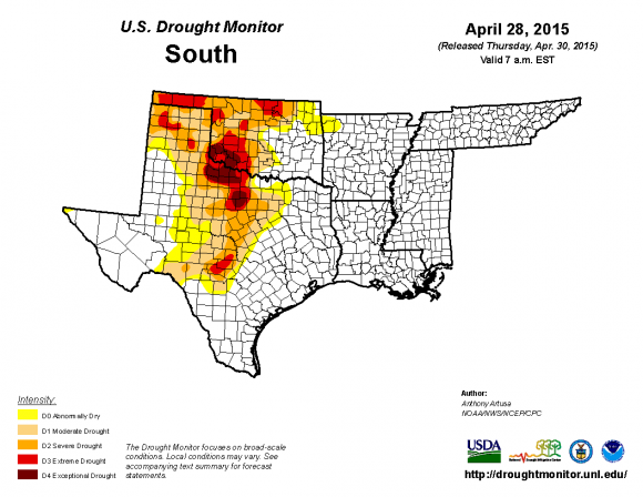 Drought monitor on April 28, 2015 shows some severe to exceptional drought in parts of Oklahoma and Texas. Image Credit: U.S. Drought Monitor