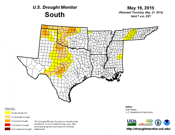 Drought conditions have improved greatly in May 2015. Image Credit: U.S. Drought Monitor