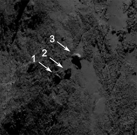 Rosetta's OSIRIS camera captured this image on September 1, 2014, from a distance of 18 miles (29 km.).  Image via ESA/Rosetta/MPS for OSIRIS Team MPS/UPD/LAM/IAA/SSO/INTA/UPM/DASP/IDA.