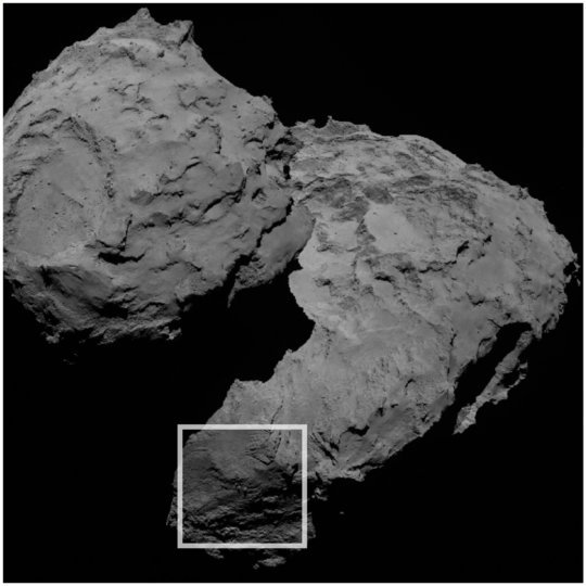 The three unusual boulders are found in the Aker region of Comet 67P/C-G, on the comet's larger lobe.  The square marks their location.  Image via ESA/Rosetta/MPS for OSIRIS Team MPS/UPD/LAM/IAA/SSO/INTA/UPM/DASP/IDA.