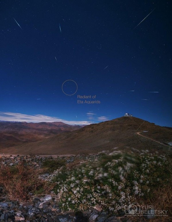 Eta Aquarids meteor shower from Atacama Desert thanks to our friend Yuri Beletsky!   Visit Yuri on Facebook.