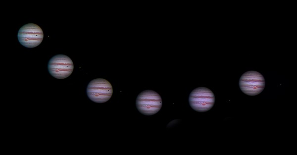 View larger. | Composite showing the shadow of one of Jupiter's moons, moving across the face of Jupiter, submitted to EarthSky by John Nelson