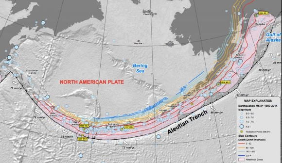 View larger at USGS site. | The Aleutian arc region of Alaska is prone to earthquakes.  This chart shows the many large earthquakes that have occurred there.