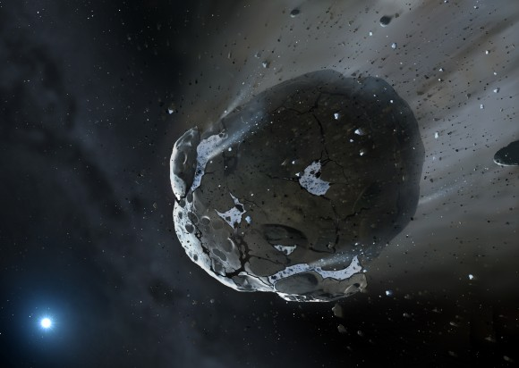 Artist's impression of a rocky and water-rich asteroid being torn apart by the strong gravity of the white dwarf star. Similar objects in the solar system likely delivered the bulk of water on Earth and represent the building blocks of the terrestrial planets. Image credit: Mark A. Garlick / University of Warwick