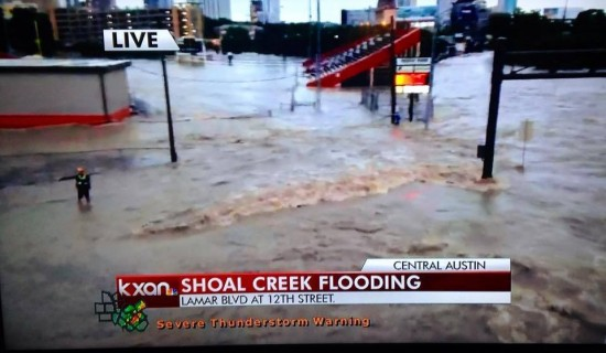 Parts of downtown Austin were flooded on May 25, 2015.